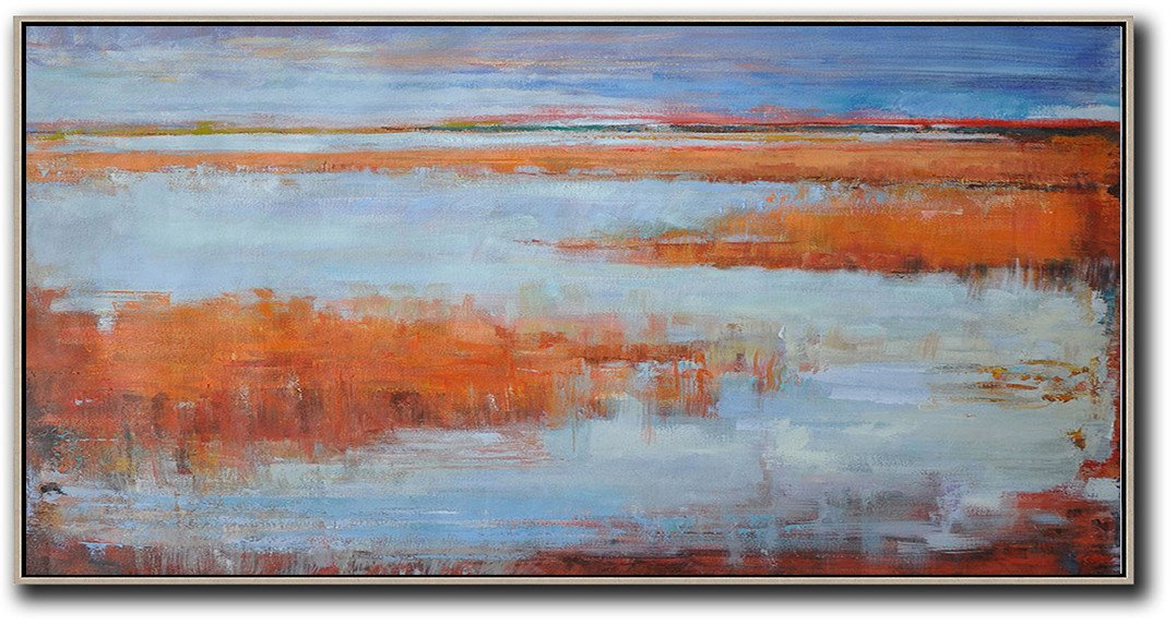 Abstract Painting Extra Large Canvas Art,Panoramic Abstract Landscape Painting,Living Room Wall Art,Blue,Orange,Red.etc